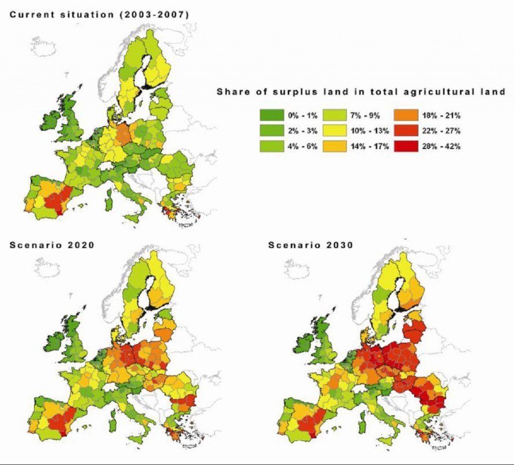 Image of map displaying distribution of surplus lands in the EU