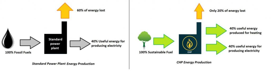 Difference between biomass CHP and a fossil fuel plant